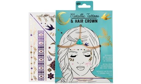 1 o 2 packs de corona para el pelo y tatuajes metálicos de la marca NPW