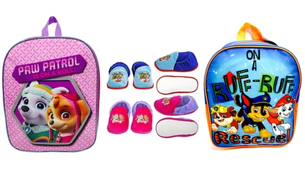 Paw Patrol Slippers and Backpack Set for Boys or Girls