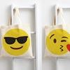 Emoji Face Print Cotton Canvas Tote Bag