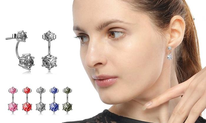 Greence international: 1 ou 5 paires de boucles d'oreilles en métal rhodié, ornées de cristaux Swarovski®, livraison offerte
