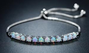 Peermont Fire Opal Adjustable Bracelet in Rhodium Plating