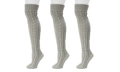 Image Placeholder For Muk Luks Womens Cable Knit Over The Knee Socks 3 Pairs
