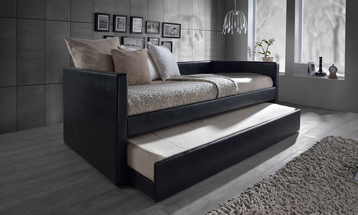Upholstered Daybed risom twin faux-leather upholstered daybed with trundle | groupon