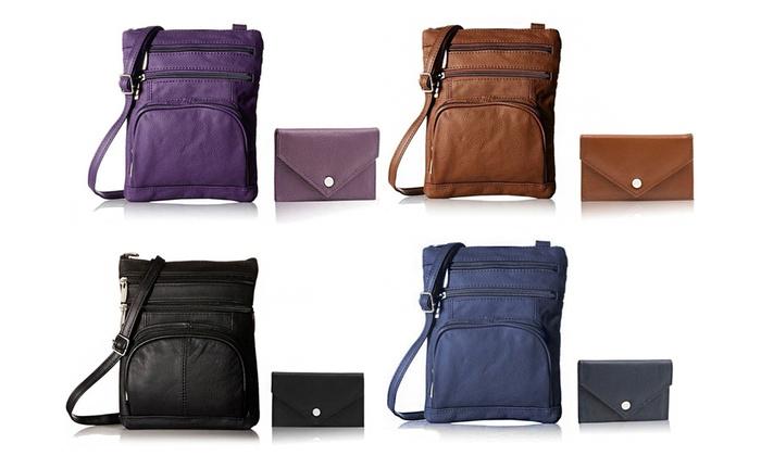 promo code 156ba 8da87 Genuine Leather Cross-Body Bag with Mini Commuter Card Case