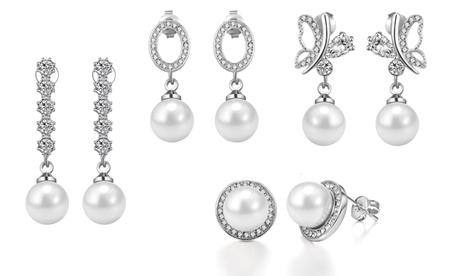 1 o 2 pares de pendientes de perla adornados con cristales de Swarovski® Philip Jones desde 9,99 € Oferta en Groupon