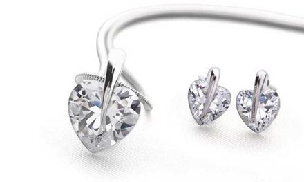 1 of 2 sets hartvormige kristallen 5karaats sieraden vanaf € 9,99 tot korting