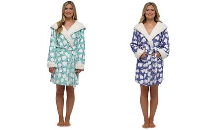 One or Two Women's Fleece Polar Bear Print Robes