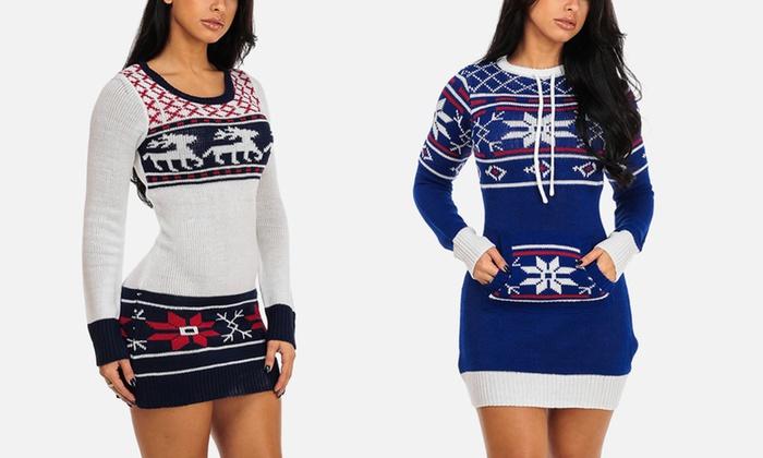 Junior's Holiday Long Sleeve Sweater Mini Dress