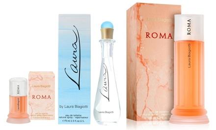Eau de Toilette da donna Laura Biagiotti, disponibile in 2 fragranze e 3 formati
