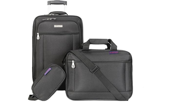 American Explorer Lightweight Rolling Luggage Set (3-Piece)   Groupon