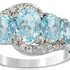 2.50 CTTW Blue and White Topaz 5-Stone Ring in Sterling Silver