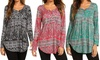 Leo Rosi Women's Paisley Rita Tunic Top. Plus Sizes Available.