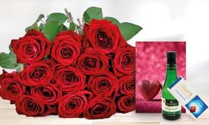 Blumenhaus Ehrend: Blumenstrauß mit 15 Red Naomi Premium-Rosen inkl. Grußkarte, Lindt Schokolade und Perlwein von Bluvesa (50% sparen*)