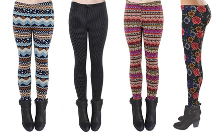 Printed Fleece Fur-Lined Leggings