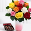 40% Off Rose Bouquet and Vase with Chocolates and Standard Delivery