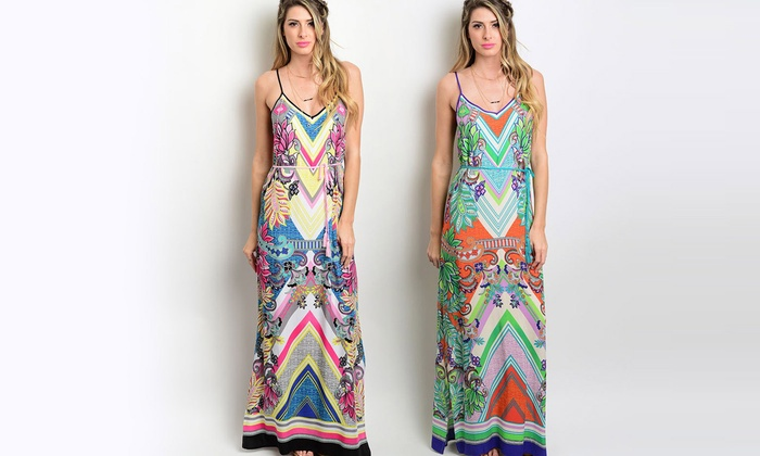 Women's Tribal Print Maxi Dress | Groupon Goods