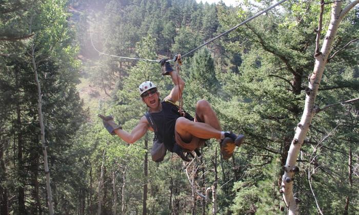 Denver Adventures - Aspen Park: Six-Zipline Night Adventure for One or Two from Denver Adventures (Up to 39% Off)