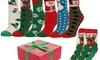 Women's Fuzzy Anti-Grip Christmas Holiday Socks (6 Pairs)