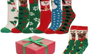 Women's Fuzzy Anti-Grip Christmas Holiday Socks (6 Pairs)