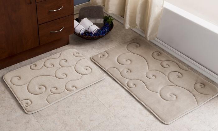 Shop Groupon Lavish Home Scroll Memory Foam Bath Mat Set (2-Piece)