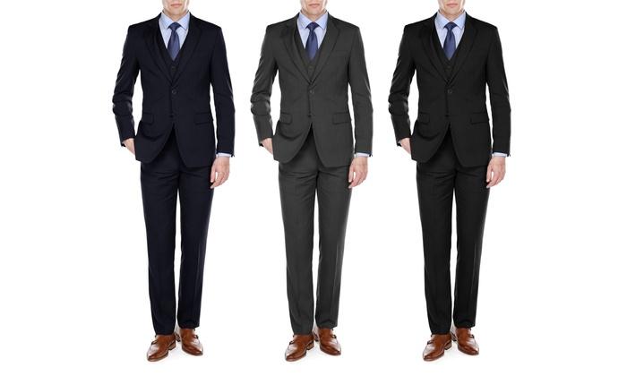 UOMO Men's Classic-Fit Herringbone Vested Suit (3-Piece)