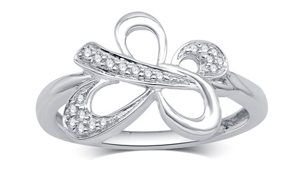 1/10 CTTW Diamond Butterfly Ring in Sterling Silver
