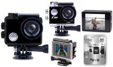 Caméras de sport HD/Full HD/UHD 4K avec accessoires et/ou cartes micro SD jusqu'à 64 Go en option