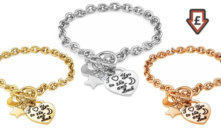 One or Two I Love You to the Moon and Back Bracelets with Charms