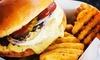 Burger, Waffle Fries + Soft Drink