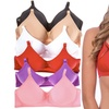 6-Pack of Women's Padded Wireless Bras with Adjustable Straps