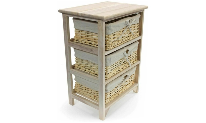 Three-Tier Wooden Storage Cabinet With Wicker Basket Drawers from £26.99 (55% OFF)