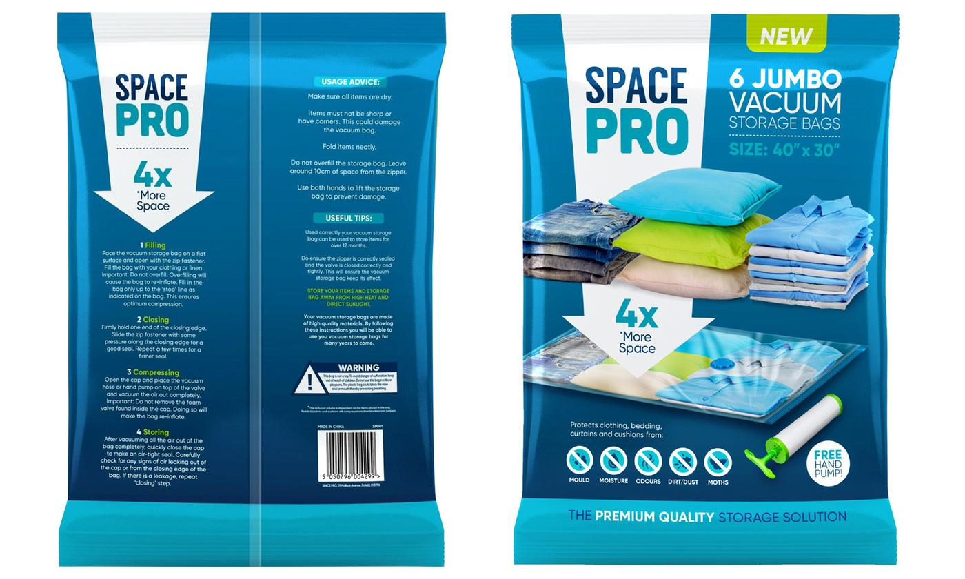 Pack of Six Jumbo Vacuum Storage Bags