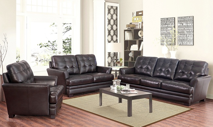 Beau Abbyson Living Demi Top Grain Leather Living Room Furniture ...
