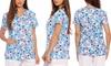 Women's Dreamcrest Christmas Scrub Tops: Women's Dreamcrest Christmas Scrub Tops (Sizes XS & XL)