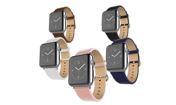 6878fb275 Up To 79% Off on Leather Grain Apple Watch Band   Groupon Goods