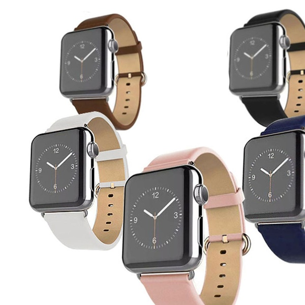 1171a7c16 Waloo Leather Grain Apple Watch Replacement Band compatibility with Series  1, 2, 3, & 4