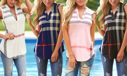 Chemise sans manches à col V, tailles et coloris au choix