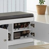 Margaret Wood Two-Door Shoe Storage Cabinet with Seating Bench