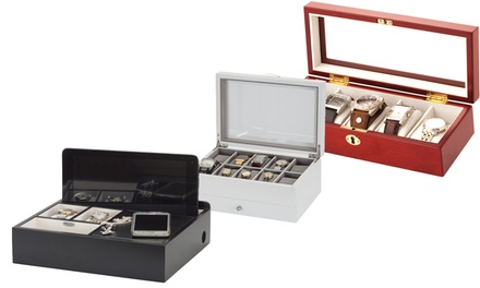 Mele and Co Wooden Watch Box or Jewellery Organiser