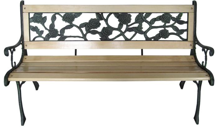 gartenbank aus holz und gusseisen groupon. Black Bedroom Furniture Sets. Home Design Ideas
