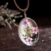 Oval Glass Drop Necklace with Real Dried Flowers