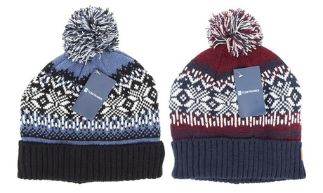 One or Two Men's Fair Isle Pom-Pom Hat