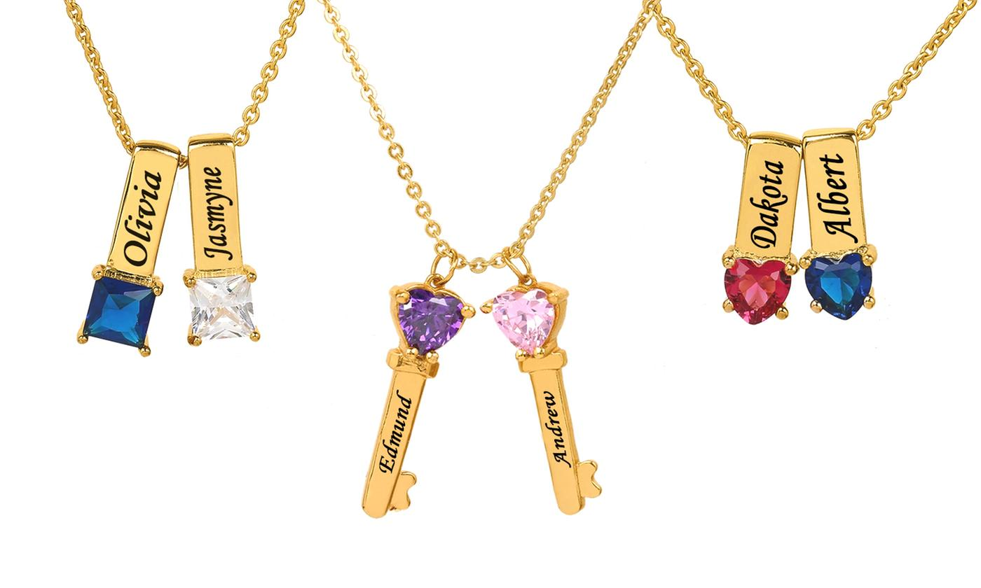 Mothers Necklace with One, Two, or Three Personalized Charms