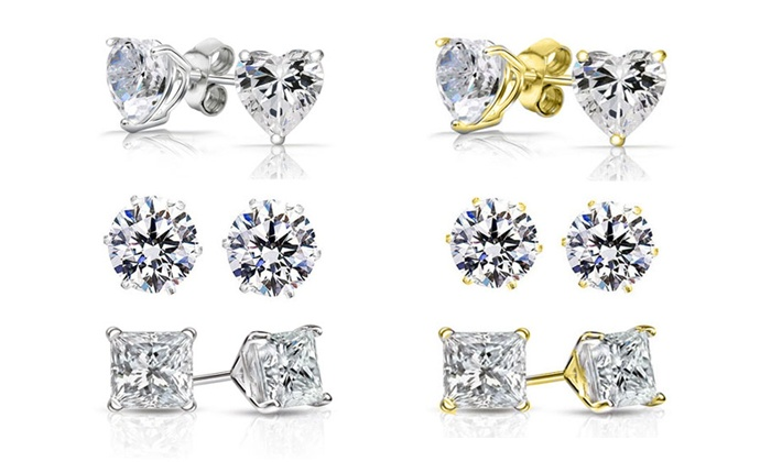 Groupon Goods: Three Pairs of Crystal Earrings with Swarovski Elements (Shipping Included)