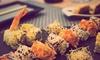 Menú japonés con tabla de sushi