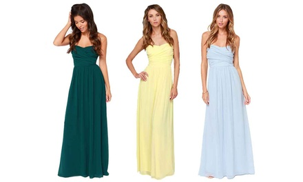 Elegant Sweetheart Strapless Maxi Dress in Choice of Colour