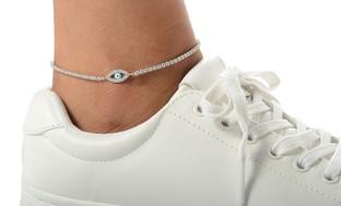 Sterling Silver Anklet Made with Swarovski Elements