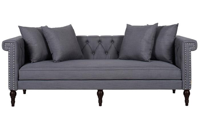 Jennifer Taylor Home Hand Tufted Hand-Applied Nailheads sofa: Jennifer Taylor Home Hand Tufted Nailhead Sofa