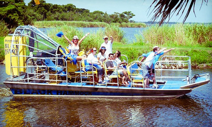 Black Hammock Adventures - Black Hammock: $38 for an Airboat Tour, Alligator Photo Op, and Gator-Meat Tasting for Two from Black Hammock Adventures ($76 Value)
