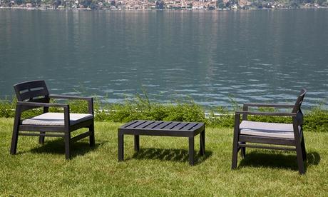 Conjunto de mesa y 2 sillones con cojines modelo Lombok Antracita